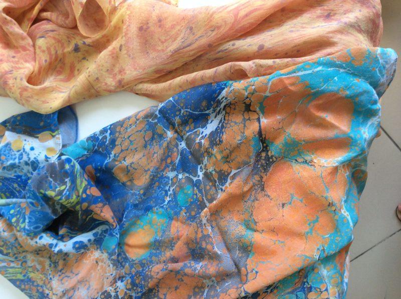Шелковые шарфы в технике ЭБРУ<br>1800 руб.