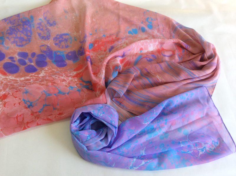 Шелковые шарфы в технике ЭБРУ<br>800 руб.